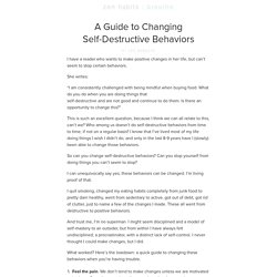 A Guide to Changing Self-Destructive Behaviors