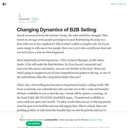 Changing Dynamics of B2B Selling – sammanfer – Medium