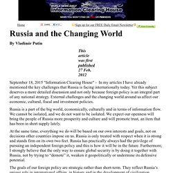 Russia and the Changing World   :    Information Clearing House - ICH