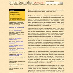 How SEO is changing journalism, Shane Richmond - British Journalism Review Vol. 19, No. 4, 2008