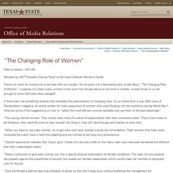 """The Changing Role of Women"" : Office of Media Relations"