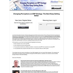 Changing Perceptions on ERP Strategy: The Best Keep Getting Better