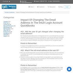 Intuit Account Login- Impact Of Changing The Email Address In The Intuit Login Account QuickBooks