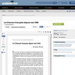 La Chanson française depuis mai 1968