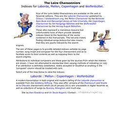 The Loire Chansonniers : indexes for Laborde, Mellon, Copenhagen and Wolfenbuttel