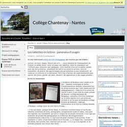 Collège Chantenay - Nantes - Les tablettes en lettres : panorama d'usages
