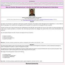 Bilan du Chantier Management par la Qualité chez NATIXIS Cash Management et Opérations
