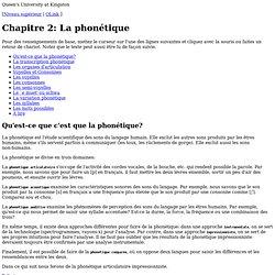 Chapitre 2: La phonétique