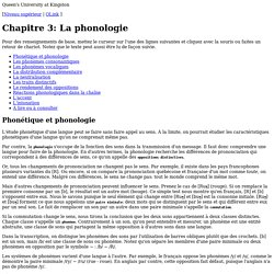 Chapitre 3: La phonologie