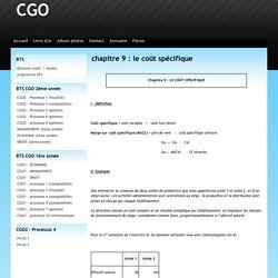 chapitre 9 : le coût spécifique