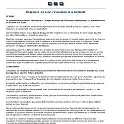 Chapitre 6 - Le suivi, l'évaluation et la durabilité