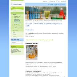 Chapitre 2 : Extraction et synthèse de principes actifs