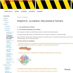 Chapitre 2 - La matière : Des atomes à l'Univers - Collège Daniel Argote Physique-Chimie