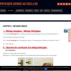 Chapitre II - Mélanges aqueux - Physique-Chimie au Collège