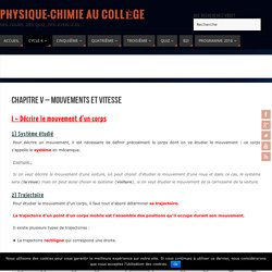 Chapitre V - Mouvements et vitesse - Physique-Chimie au Collège