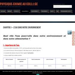 Chapitre I - L'eau dans notre environnement - Physique-Chimie au Collège