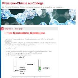 Chapitre IV – Ions et pH – Physique-Chimie au Collège