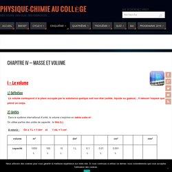 Chapitre IV - Masse et volume - Physique-Chimie au Collège