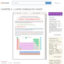 CHAPITRE 2 : L UNITE CHIMIQUE DU VIVANT - PDF Téléchargement Gratuit