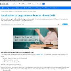 Chapitres au programme en Français - Brevet 2019