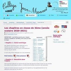 Les chapitres en classe de 3ème (année scolaire 2020-2021) - Collège Jean Monnet