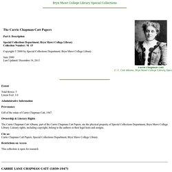 Carrie Chapman Catt Papers