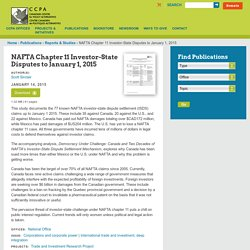 NAFTA Chapter 11 Investor-State Disputes to January 1, 2015