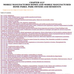 CHAPTER 412* MOBILE MANUFACTURED HOMES AND MOBILE MANUFACTURED HOME PARKS. PARK OWNERS AND RESIDENTS