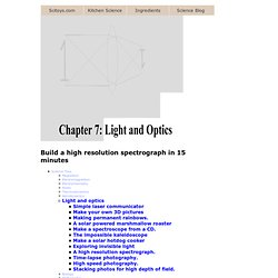 Chapter 7: Light and Optics -- Build a lab quality spectrograph in 15 minutes for less than $20.