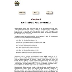Chapter 4 - Right Hand and Forehead - Mark of the Beast