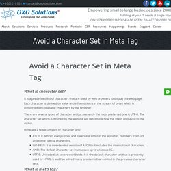 Avoid a Character Set in Meta Tag