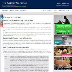 Writers' Workshop | Characterisation
