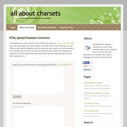 HTML Special Character Conversion Tool and Routines
