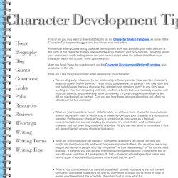Character Development Tips