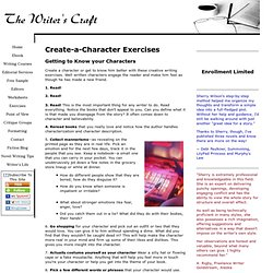 Creat a Character Exercises -- The Writer's Craft