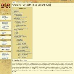 Character Lifepath (3.5e Variant Rule)