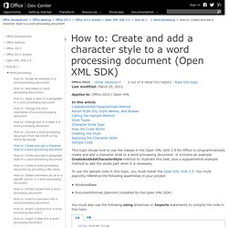 How to: Create and add a character style to a word processing document (Open XML SDK)