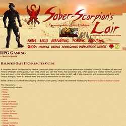 Baldur's Gate II Character Guide - Saber-Scorpion's Lair - Personal Website of Justin R. Stebbins