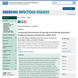 Comparing Characteristics of Sporadic and Outbreak-Associated Foodborne Illnesses, United States, 2004–2011 - Volume 22, Number 7—July 2016