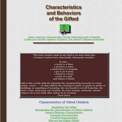 Characteristics and Behaviors of the Gifted