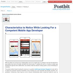 Characteristics to Notice While Looking For a Competent Mobile App Developer