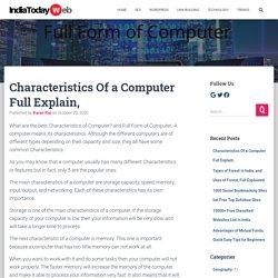 Characteristics Of Computer Full Explain, Full Form of Computer