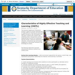 Characteristics of Highly Effective Teaching and Learning (CHETL)