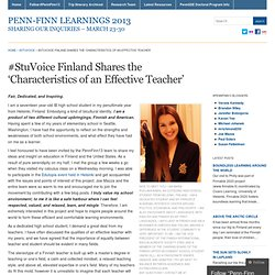 #StuVoice Finland Shares the 'Characteristics of an Effective Teacher'