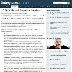 10 Characteristics of Superior Leaders - Successful Leader Characteristics