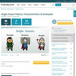 Anglo-Saxon Poetry: Characteristics & Examples