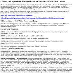 Colors and Spectral Characteristics of Fluorescent Lamps