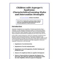 Autism Papers--Children with Asperger's Syndrome: Characteristics/Learning Styles and Intervention Strategies pg 1