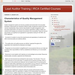 IRCA Certified Courses : Characteristics of Quality Management System