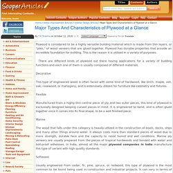 Major Types And Characteristics of Plywood at a Glance